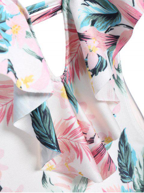 women's String High Cut Tropical Print One-Piece Swimwear - COLORMIX 2XL Mobile