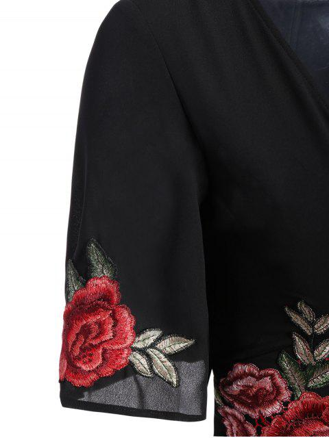 trendy Fitting Floral Embroidered Romper - BLACK 2XL Mobile