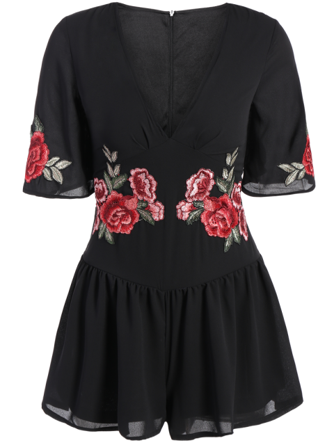fancy Fitting Floral Embroidered Romper - BLACK M Mobile