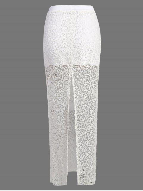 fancy Long Lace Slit Skirt - WHITE L Mobile