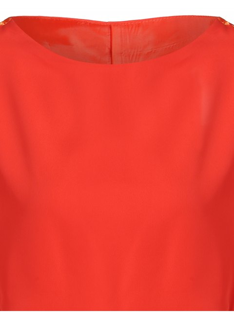 buy Drawstring Sleeve Waist Slimming Dress - ORANGE RED M Mobile
