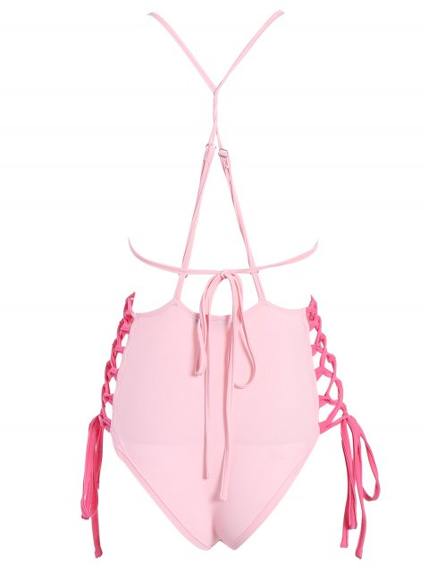 buy High CutLace-Up  One-Piece Swimwear - PINK L Mobile