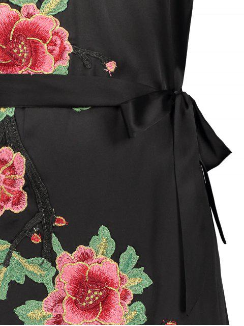 women's Mini Floral Embroidered Slip Dress - BLACK M Mobile