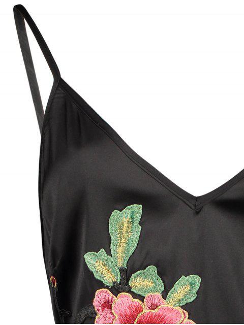 women Mini Floral Embroidered Slip Dress - BLACK L Mobile