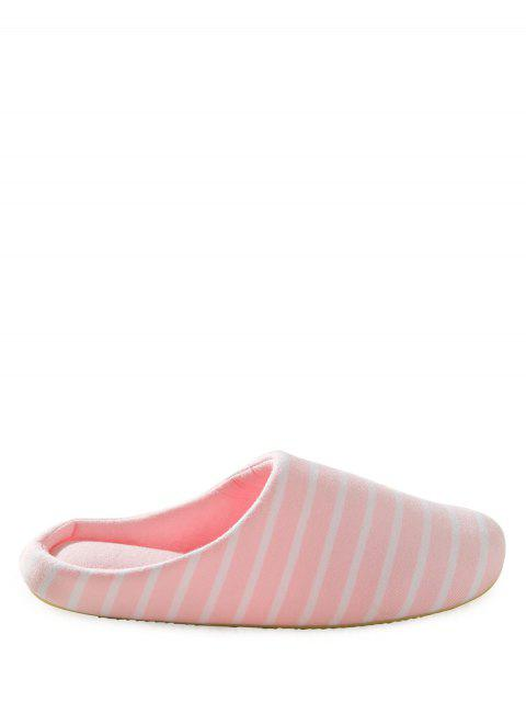 trendy Color Block Flat Heel Stripe House Slippers - PINK 39 Mobile
