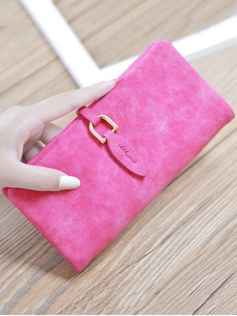 hot Metal Embellished Bi Fold Clutch Wallet - ROSE RED  Mobile