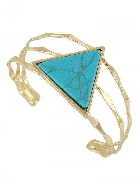 trendy Faux Gem Triangle Vintage Cuff Bracelet - BLUE  Mobile