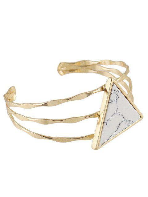 unique Faux Gem Triangle Cuff Bracelet - WHITE  Mobile