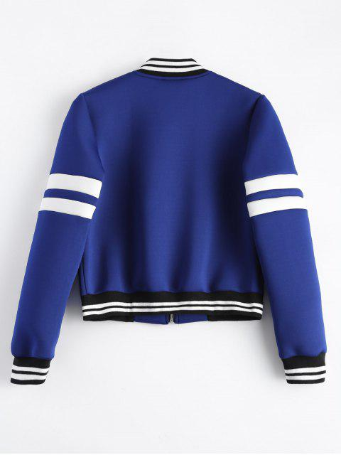 online Striped Sleeve Bomber Jacket - BLUE XL Mobile