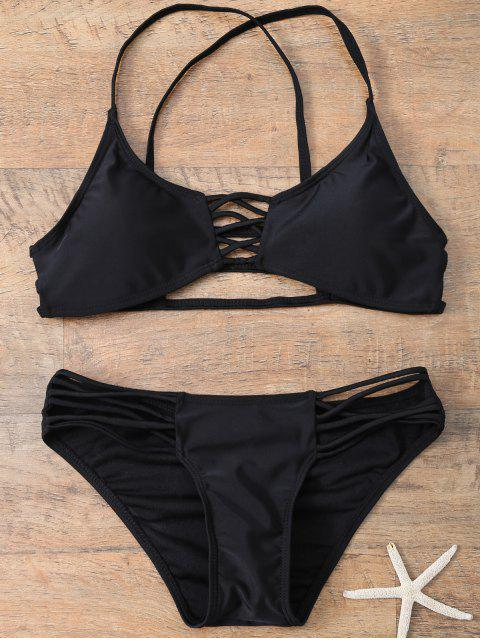best Strappy Criss Cross Swimsuit - BLACK S Mobile