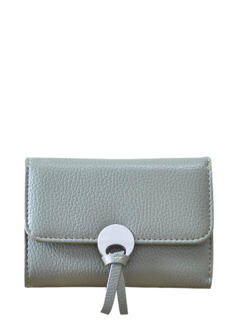 chic Metal Embellished Tri Fold Small Wallet -   Mobile