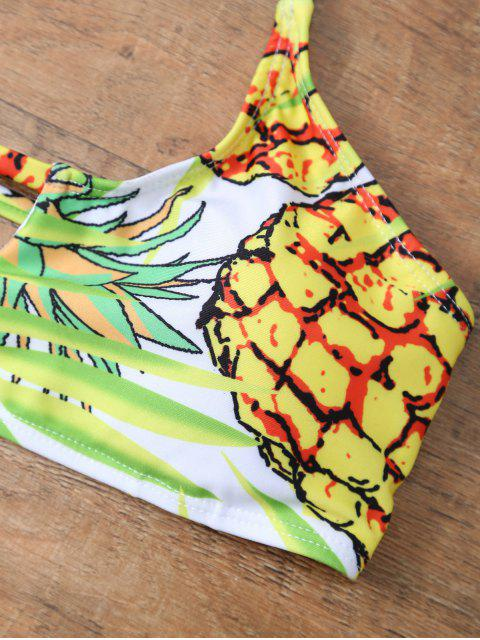 shop Pineapple Pattern Halter Padded Bikini - COLORMIX S Mobile