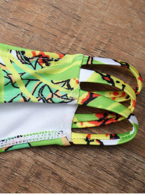 trendy Pineapple Print Halter Padded Bikini - COLORMIX S Mobile
