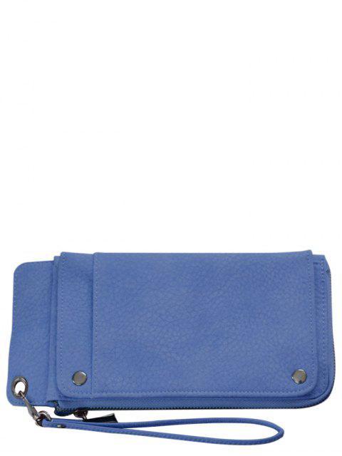 unique Faux Leather Wristlet Wallet - BLUE  Mobile