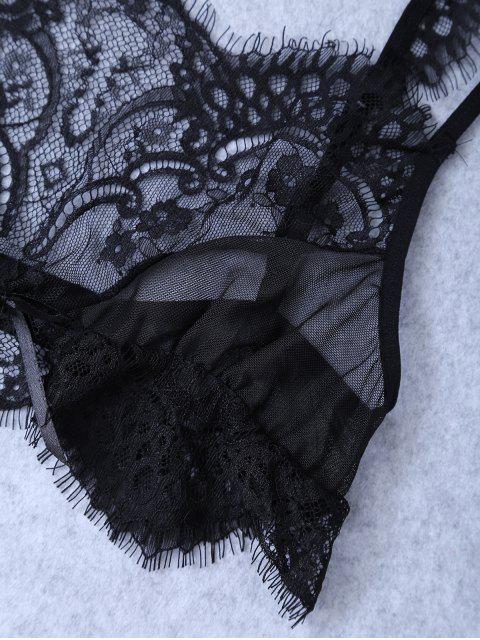 best Unlined Lace Bra - BLACK S Mobile