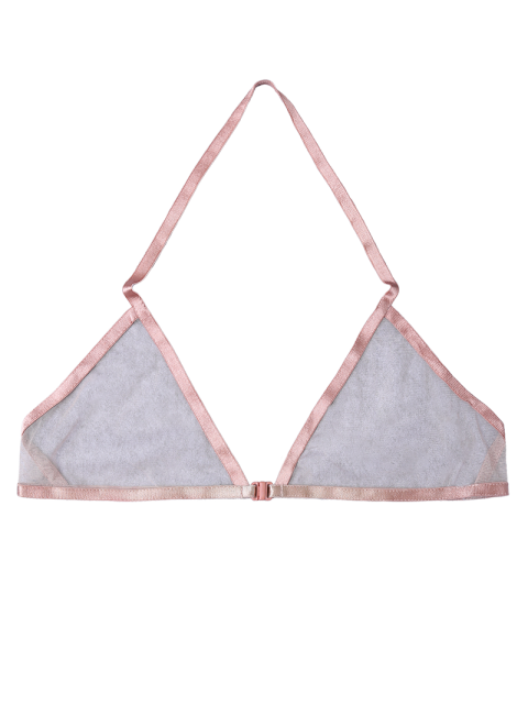 online Front Closure Sheer Mesh Bra - SHALLOW PINK XL Mobile