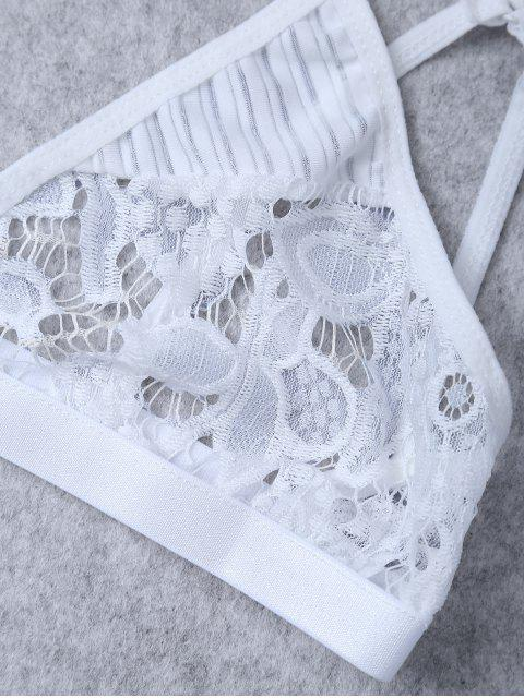 new Sheer Lace Plunge Bra - WHITE L Mobile