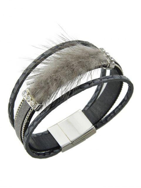 hot Faux Leather Rhinestone Fuzzy Wrap Bracelet -   Mobile