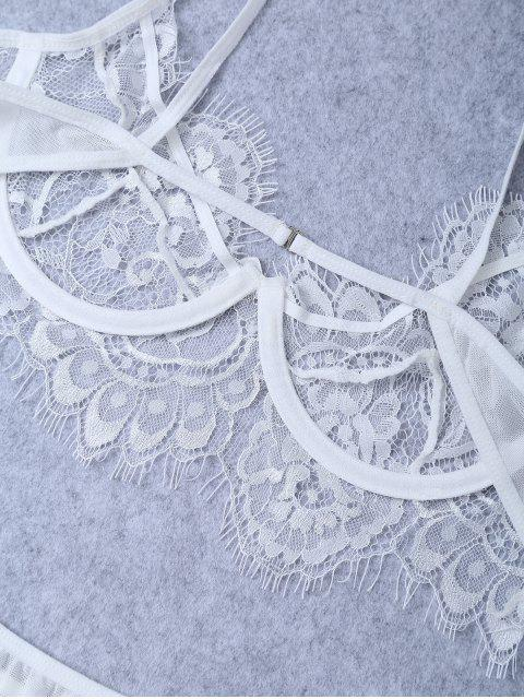 womens Underwire Sheer Lace Bra and Panty - WHITE XL Mobile