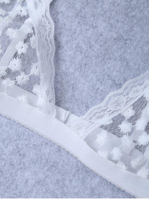 outfits Embroidered Sheer Mesh Bra - WHITE M Mobile