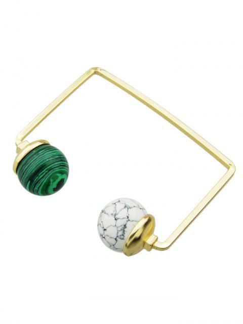 shop Artificial Gem Ball Cuff Bracelet - WHITE AND GREEN  Mobile