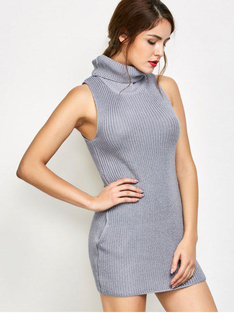 fancy Sleeveless Turtle Neck Sweater Dress - GRAY S Mobile