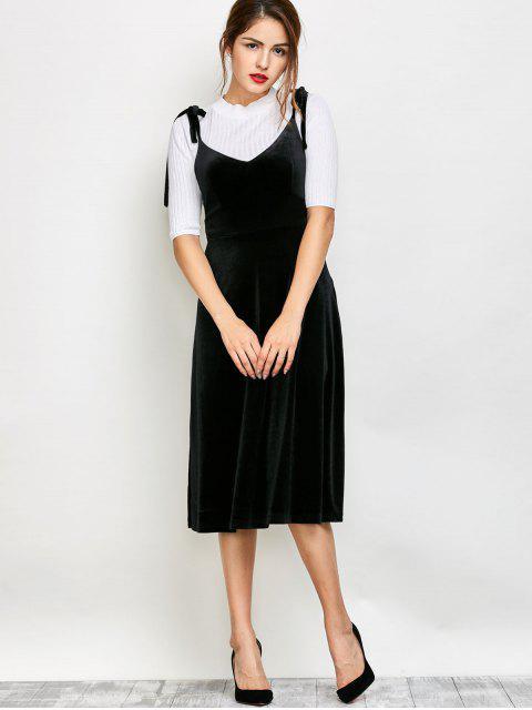 unique Shoulder Tie Velvet Pinafore Dress - BLACK XL Mobile