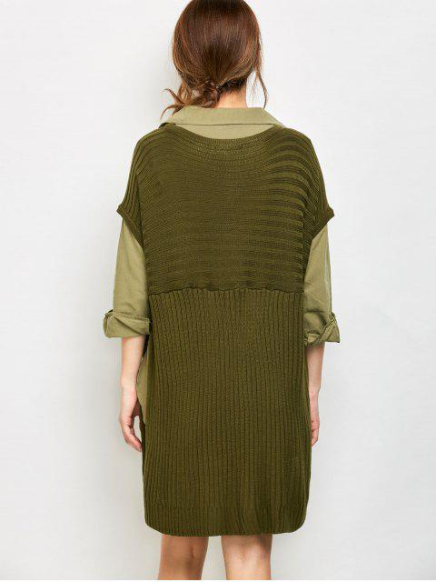 fancy Side Slit Oversized Sweater With Pockets - ARMY GREEN L Mobile