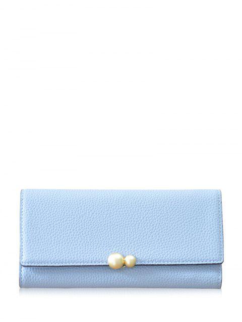 trendy Textured Tri Fold Clutch Wallet - LIGHT BLUE  Mobile