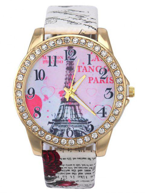 fancy Faux Leather Band Eiffel Tower Quartz Watch - WHITE  Mobile