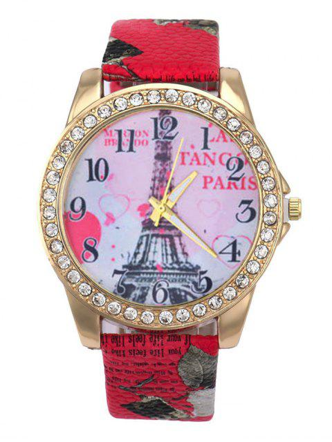 affordable Faux Leather Band Eiffel Tower Quartz Watch - RED  Mobile
