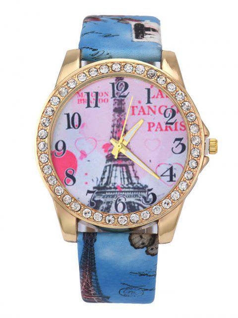 buy Faux Leather Band Eiffel Tower Quartz Watch - BLUE  Mobile