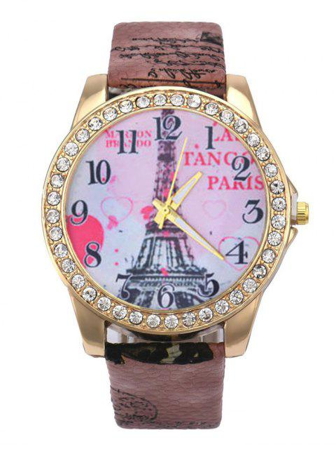 chic Faux Leather Band Eiffel Tower Quartz Watch -   Mobile