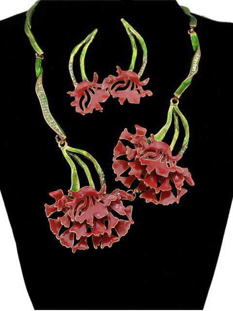 online Rhinestone Flower Vintage Necklace and Earrings - RED  Mobile
