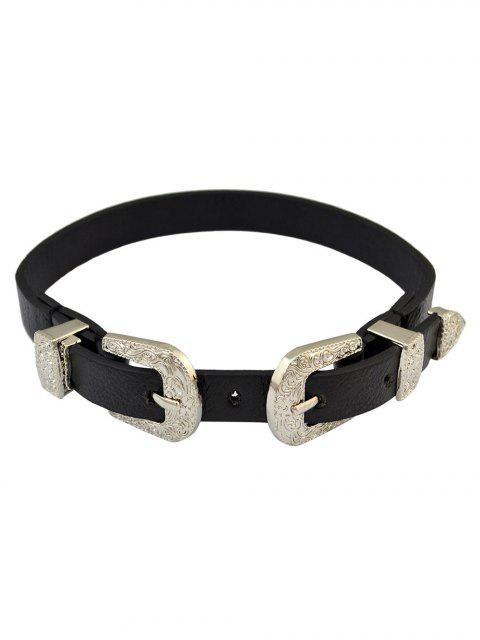 outfit Faux Leather Belt Shape Choker Necklace - SILVER  Mobile
