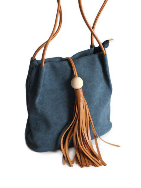 affordable Tassel Wood Bead Shoulder Bag - BLUE  Mobile