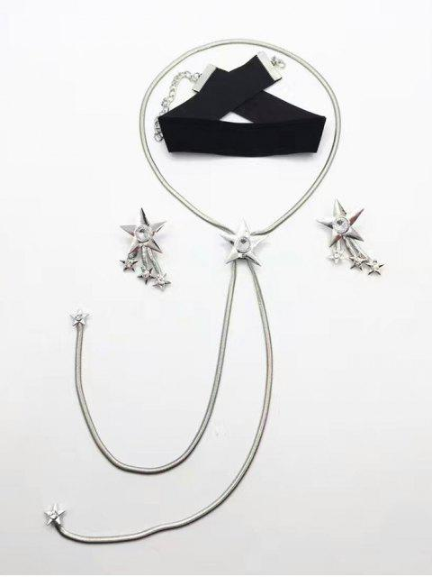 shop Star Rhinestone Choker Necklace and Earrings - SILVER  Mobile