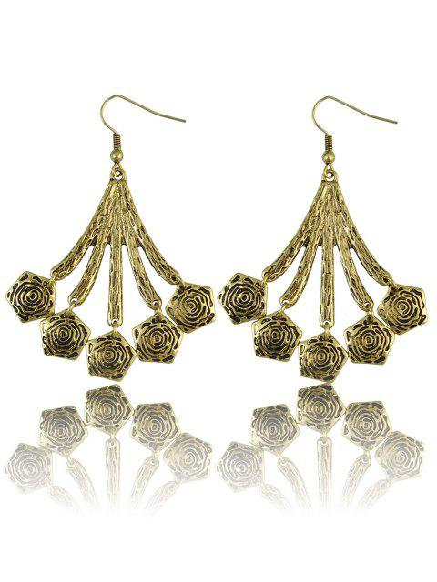 online Vintage Floral Geometric Drop Earrings - GOLDEN  Mobile