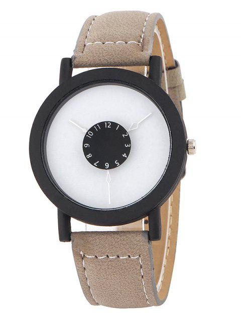trendy Faux Leather Band Analog Quartz Watch -   Mobile