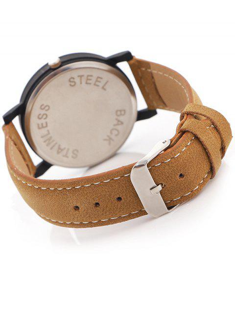 fashion Faux Leather Band Analog Quartz Watch -   Mobile