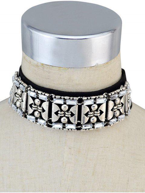 shops Faux Leather Rhinestone Vintage Choker Necklace - BLACK  Mobile