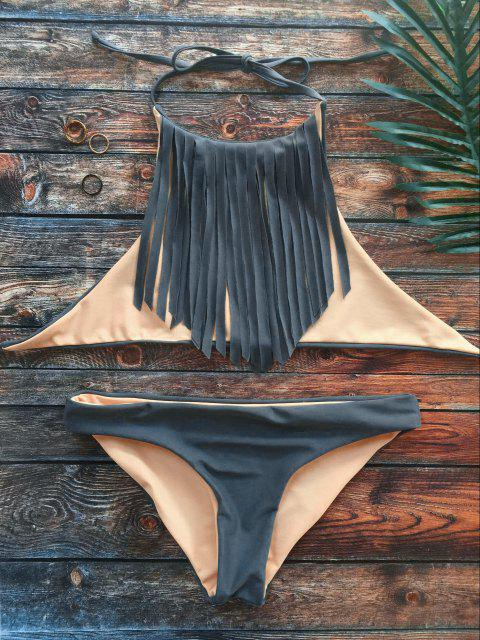 chic High Neck Double Side Fringed Bikini - GRAY L Mobile