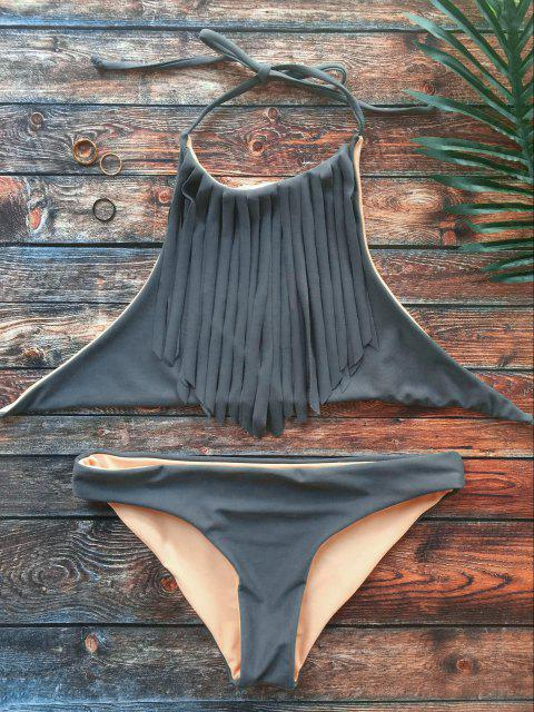 fancy High Neck Double Side Fringed Bikini - GRAY M Mobile