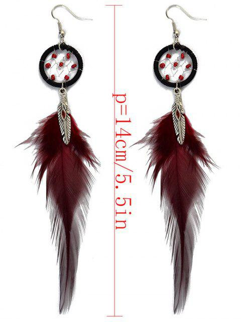 outfits Feather Adorn Bohemian Drop Earrings - RED  Mobile