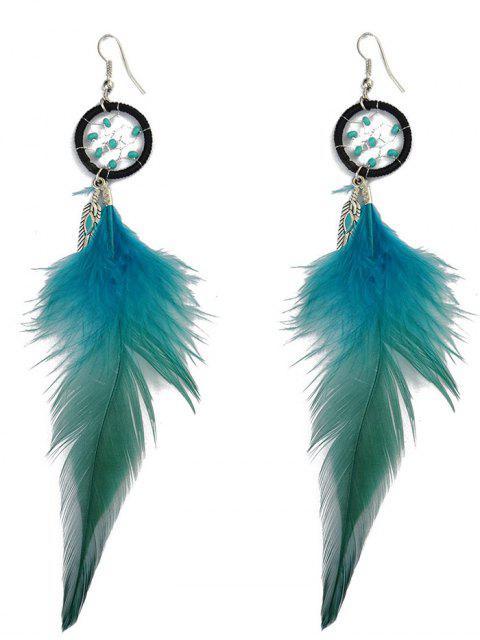 shop Feather Adorn Bohemian Drop Earrings - BLUE  Mobile