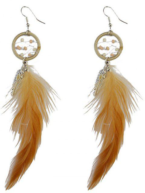 latest Feather Adorn Bohemian Drop Earrings -   Mobile