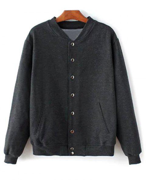 trendy Button Up Baseball Jacket - DEEP GRAY L Mobile