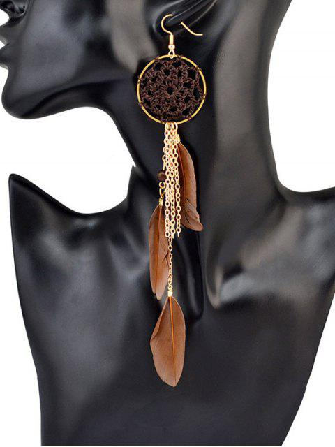 fashion Beads Feather Bohemian Drop Earrings - BROWN  Mobile