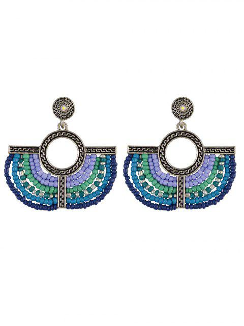 chic Beads Geometric Vintage Drop Earrings - BLUE  Mobile