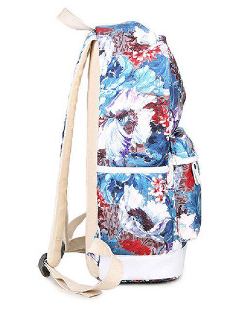ladies Flower Painted Backpack Set - BLUE  Mobile